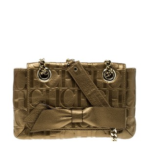 Carolina Herrera Monogram Leather Shoulder Bag
