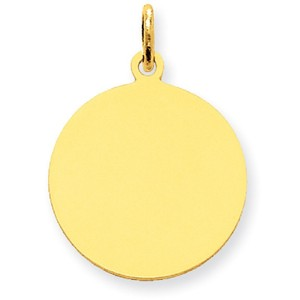 Apples of Gold ENGRAVEABLE 14K GOLD DISC CHARM PENDANT