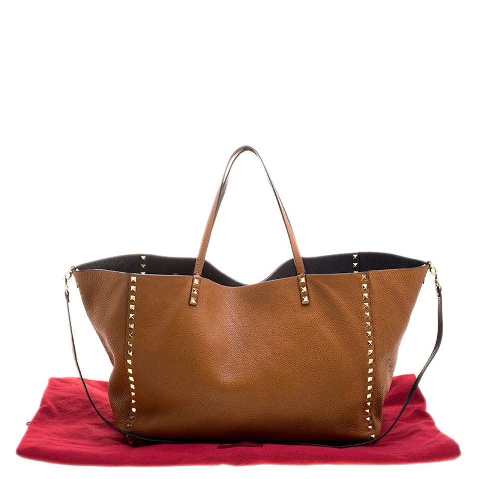 Leather Rockstud Large Tote Reversible Valentino Brown xw4fqAqa