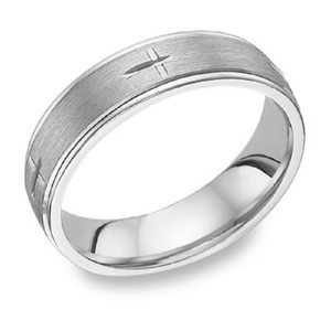 Apples of Gold Etched Cross Band In 14k White Ring