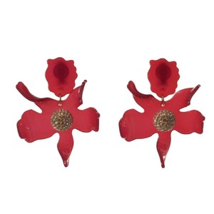 Lele Sadoughi Lele Sadoughi Raspberry Crystal Lily Gold Plated Clip Earrings