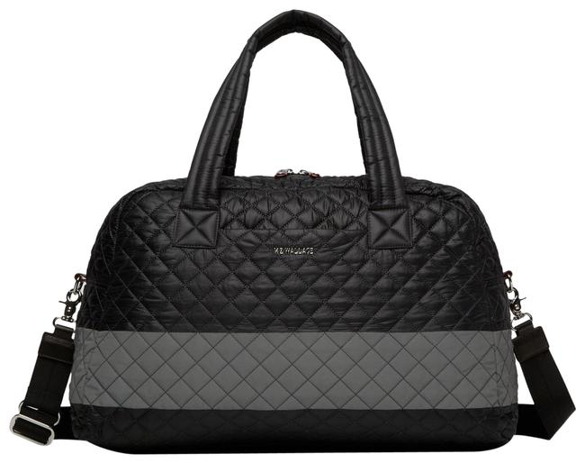 Item - Jim Black/Iridescent Silver Quilted Nylon and Leather Weekend/Travel Bag