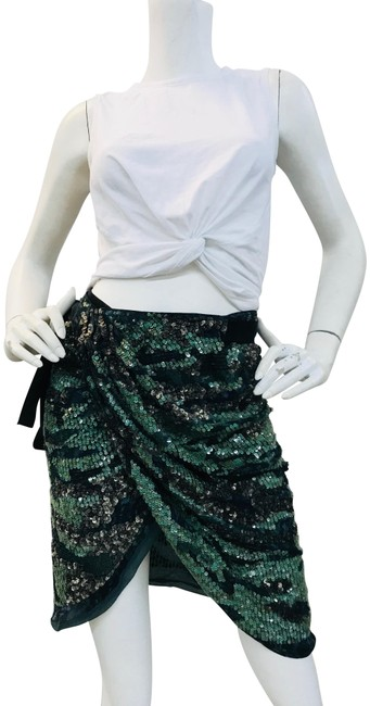Item - Green Elmira Sequined Silk-georgette Mini Wrap Skirt Size 6 (S, 28)