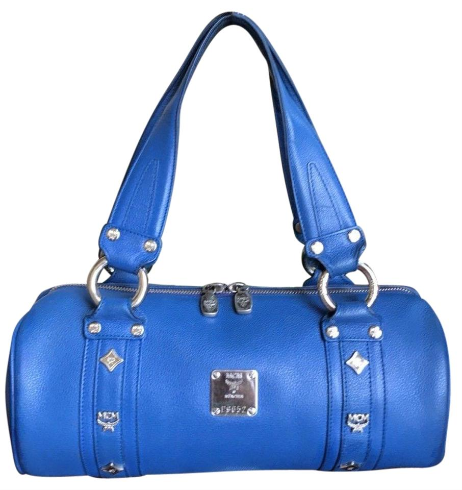MCM Barrel Tube Round Handbag Blue Leather Satchel - Tradesy 3257480711191