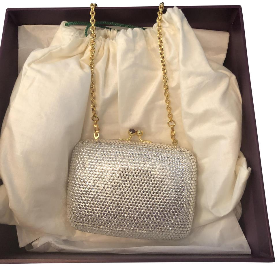 Judith Leiber Mini Clutch Clear Crystals with Silver Leather and Gold  Hardware Baguette 6661bd451f478