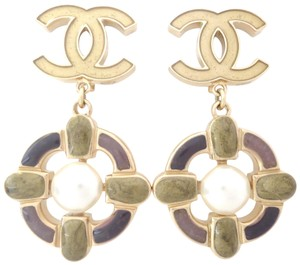 Chanel Chanel CC logo 2 color w/ pearl dangle clips earrings
