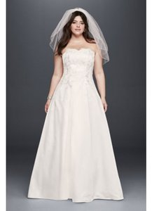 d9f1ed874468 David's Bridal Champagne Polyester 1262 Traditional Wedding Dress Size 26  (Plus ...