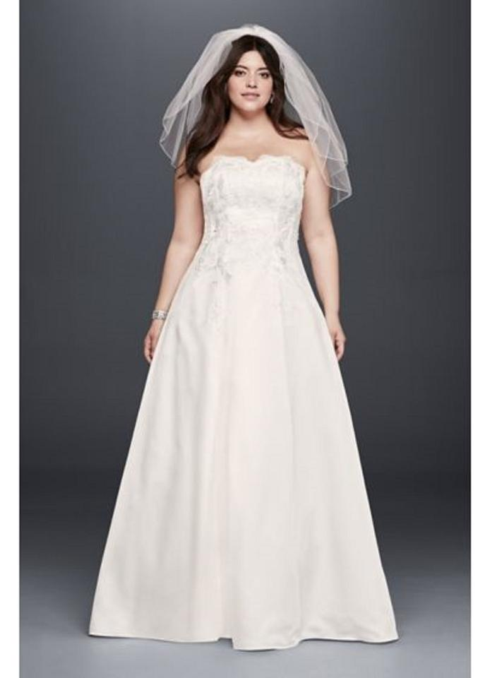 David\'s Bridal Champagne Polyester 1262 Traditional Wedding Dress Size 26  (Plus 3x) 49% off retail