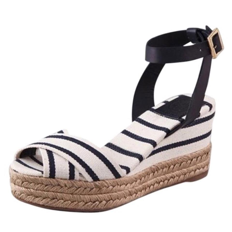 34ee02c875d8f1 Tory Burch White Navy Karrisa Canvas Striped Wedge Espadrilles Sandals