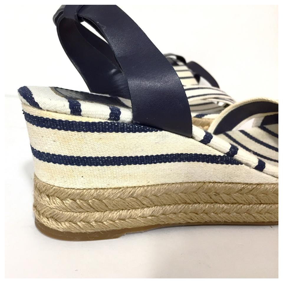 6f5abd0f17a Tory Burch White Navy Karrisa Canvas Striped Wedge Espadrilles ...