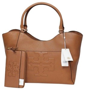 Tory Burch Summer Black Leather Tote in Tan Brown Bark