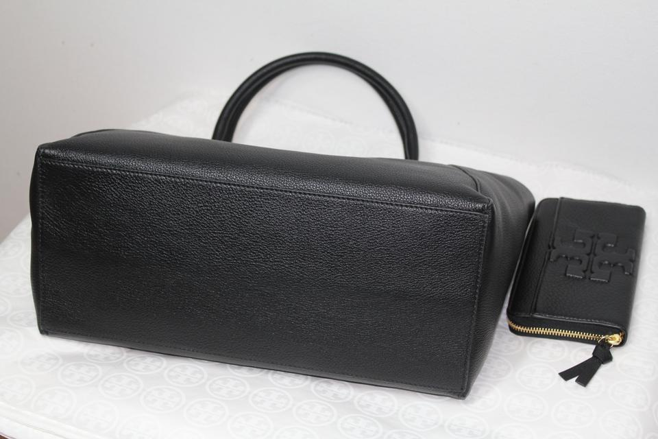 Leather Zip Rare Black 2 Wallet Burch Tory Continental New Tote Pc 6qwRcUF