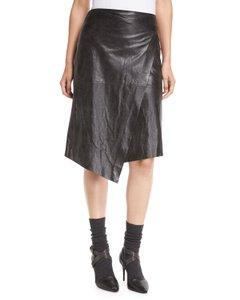 Brunello Cucinelli Leather Hi Lo Wrap Skirt black