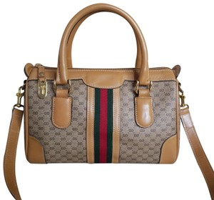 ee308a7e5a9 Gucci Boston Vintage Vtg Gg Monogram Micro Guccissima Sherry Doctor Speedy  Tan Leather Coated Canvas Satchel