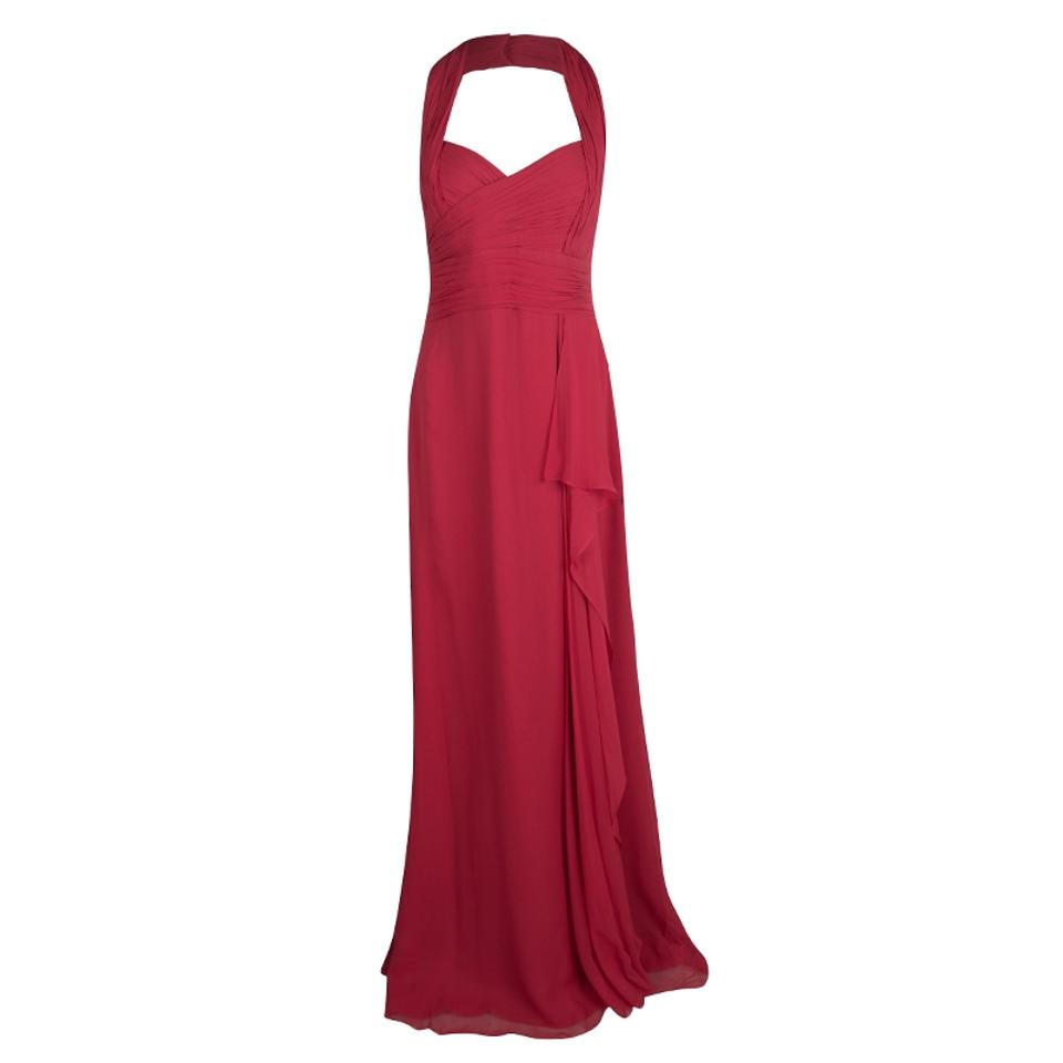 Marchesa Notte Red Silk Chiffon Halter Evening Gown L Mid-length ...
