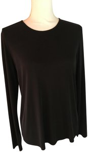 Eileen Fisher New Silk Travelready No Wrinkling Crew Neck Top Black