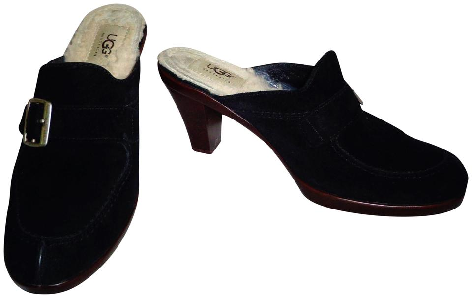 ad85f95b9db UGG Australia Black Suede Leather Shearling Lined Clogs/Sandals/Shoes  Mules/Slides Size US 8 Regular (M, B)