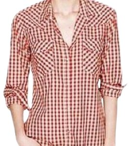 Nili Lotan Button Down Shirt Red and White