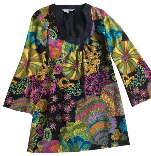 Item - Black Multi Print Pink Orange Yellow Green Silk Printed Bell Sleeves Short Cocktail Dress Size 2 (XS)