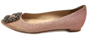 Manolo Blahnik Jewel Embellishment Elegant Satin Padded Insole Made In Italy Pointed Toe Champagne Fabric glittered Flats