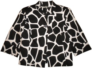 East 5th Essentials Lined 3/4 Sleeve Button Front Black/White Black/White Blazer