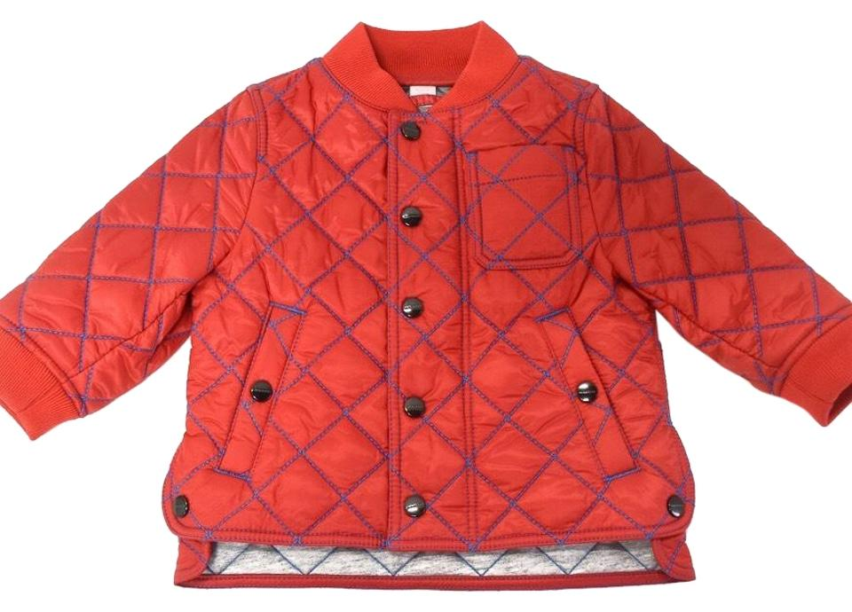 Burberry Bright Orange Red Topstitched Quilted Jacket Baby Boys 6m