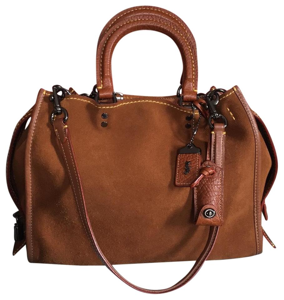6874932e9788 Coach Rogue 1st Edition with Lock and Key Saddle Suede Leather ...