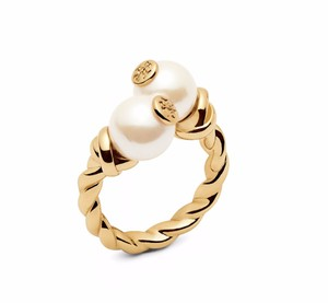 Tory Burch New Tory Burch Rope Logo Bead Ring - Size 6 16k Gold