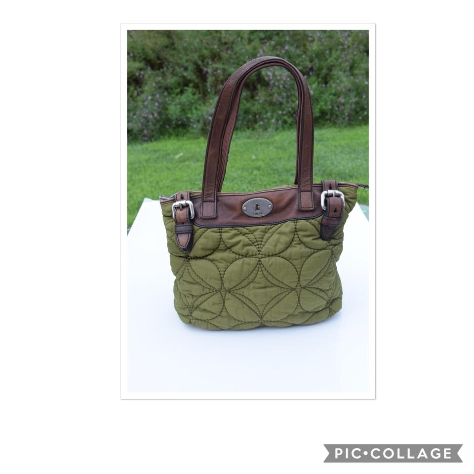 2d9fe096ce8b Fossil Quilted Key-per Olive Green   Brown Nylon Leather Tote - Tradesy