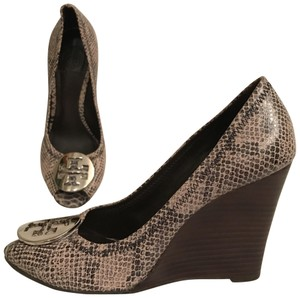 Tory Burch Wedge Leather Python Snakeskin Peep Toe Beige Black Gray Multi Pumps