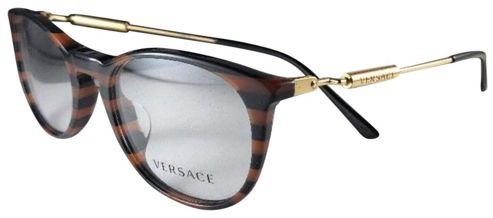 40e5d6ddf67 Versace New VERSACE Eyeglasses MOD.3227-A 5187 Black Brown Stripes-Gold  Frame ...