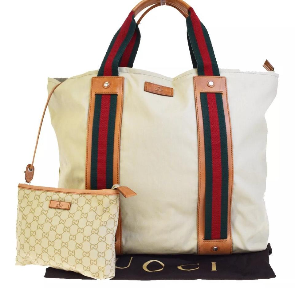 f81c8ae5f69 Gucci Canvas Tote Weekend Travel Bag - Tradesy