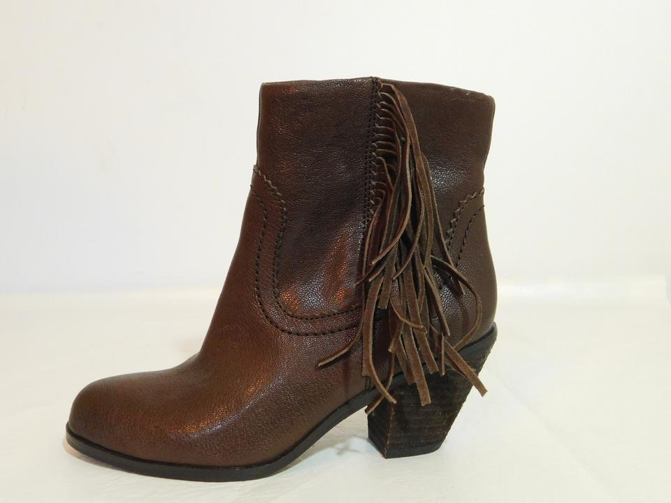 1cce5acee0817 Sam Edelman Brown Louie Leather Fringe Ankle Boots Booties Size US 5 ...