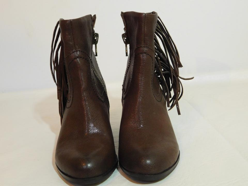 78e1bfb243befc Sam Edelman Brown Louie Leather Fringe Ankle Boots Booties Size US 5  Regular (M
