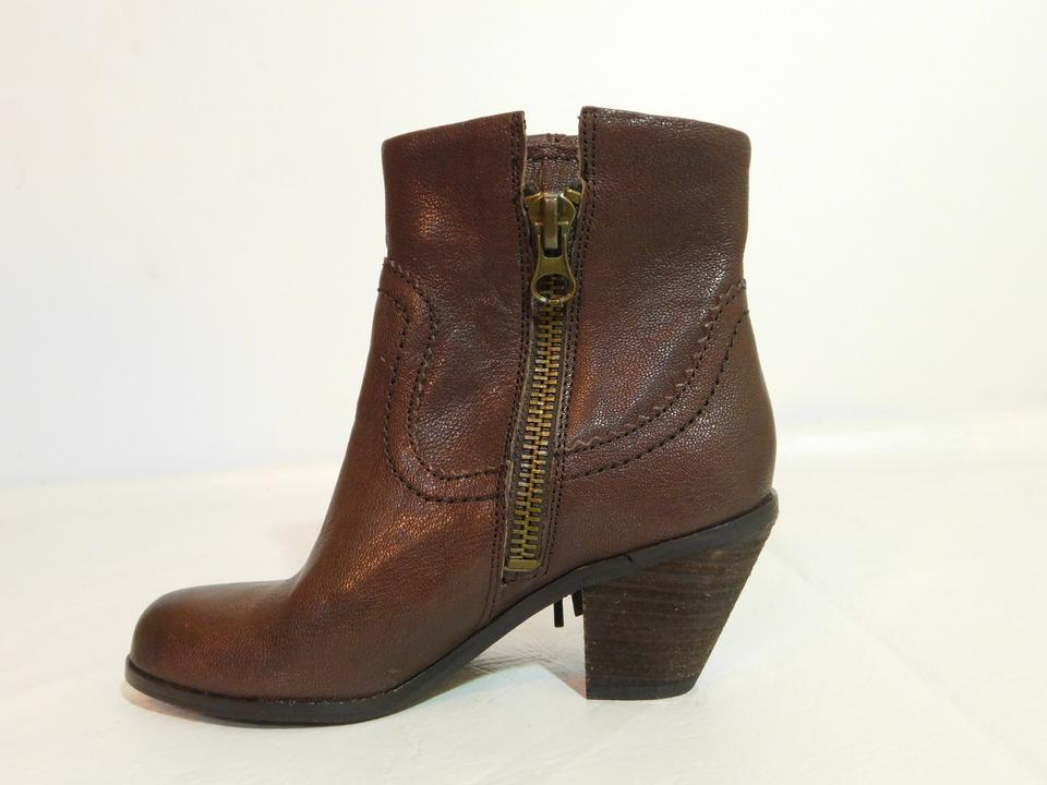 a5aa4b5090868 Sam Edelman Brown Louie Leather Fringe Ankle Boots Booties Size US 5  Regular (M