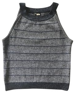 Chanel Striped Cashmere Cotton Blue, Silver metallic Halter Top