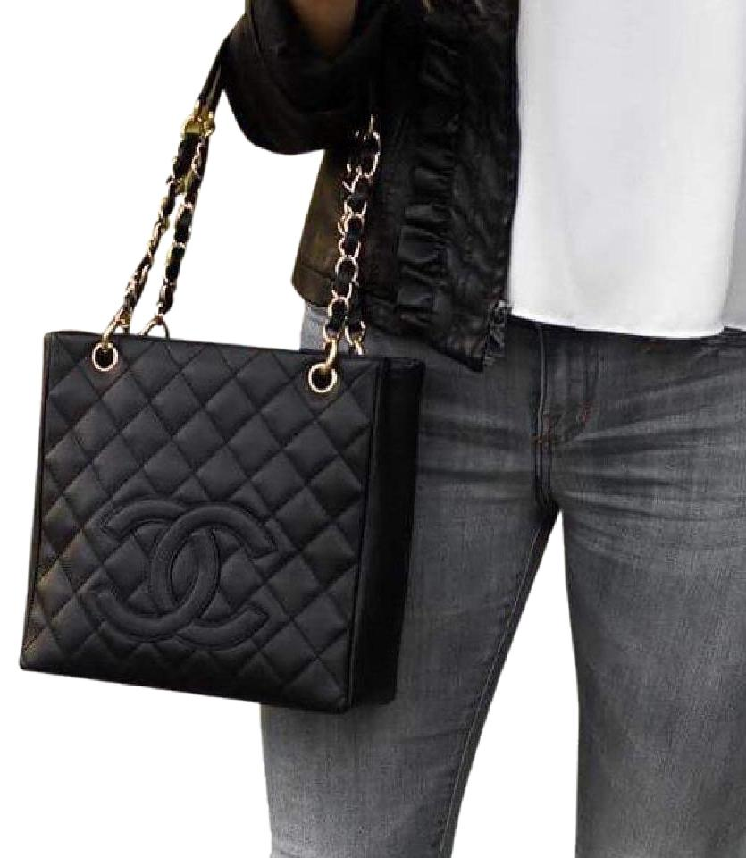 9aa9e4325833 Chanel Petite Caviar Siver Caviar Shoulder Tote in Black Image 0 ...
