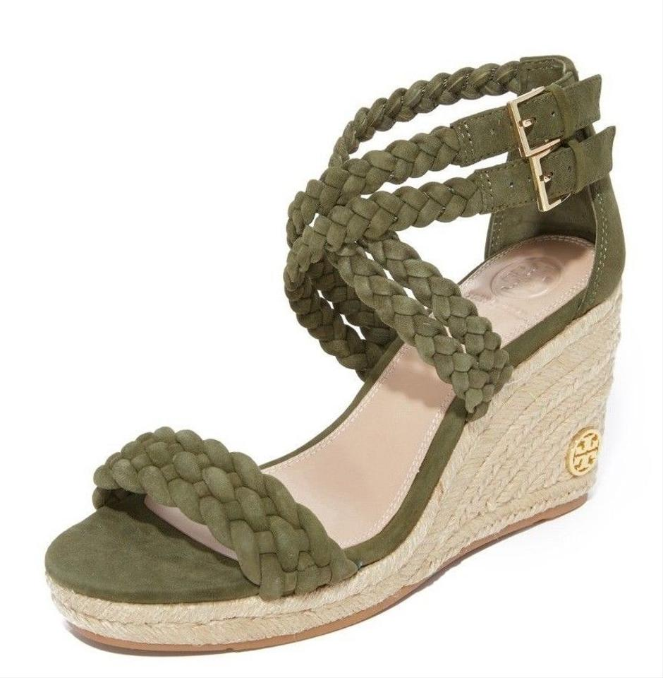 adc1e627c24a6c Tory Burch Olive Khaki Green New Braided Wedges Summer Box Sandals ...