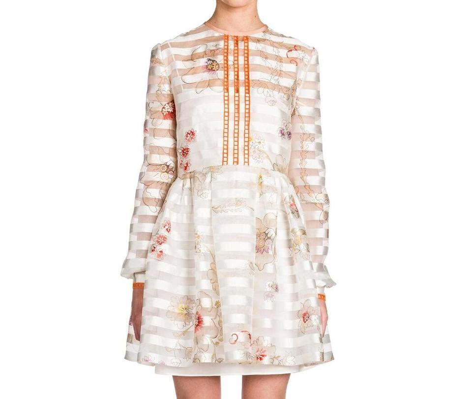 Floral Ivory Dress Fit Short Flare Striped Bambolina Fendi and Casual PqpWawpt
