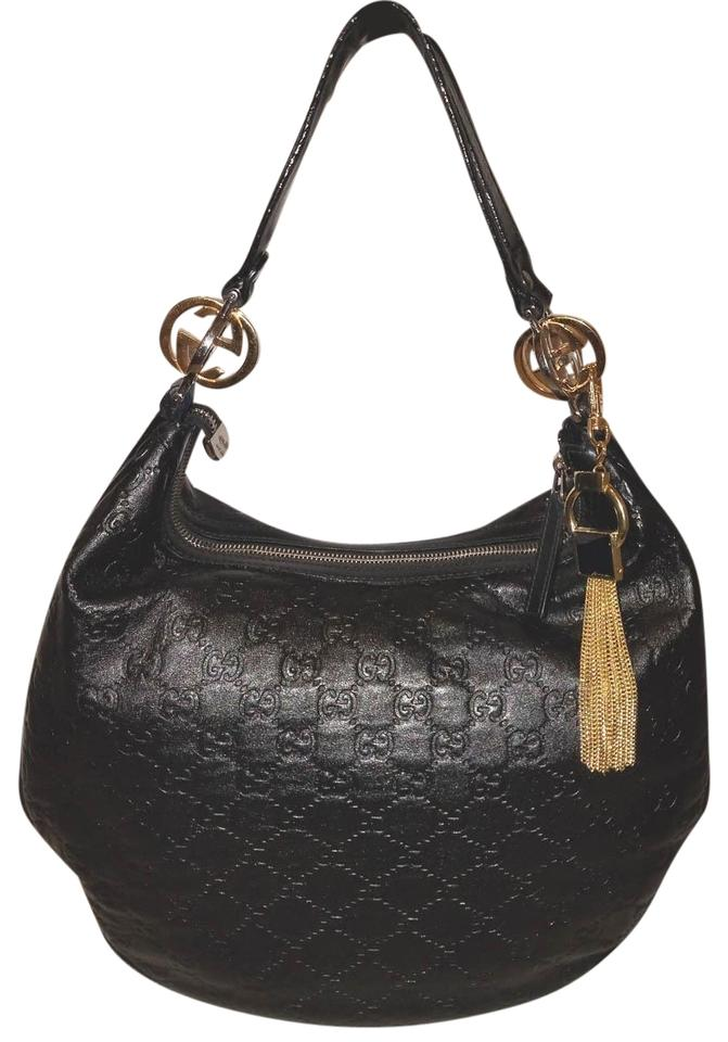 7c2656ef3 Gucci Handbag Extra-large Monogram Embossed Black Leather Hobo Bag ...