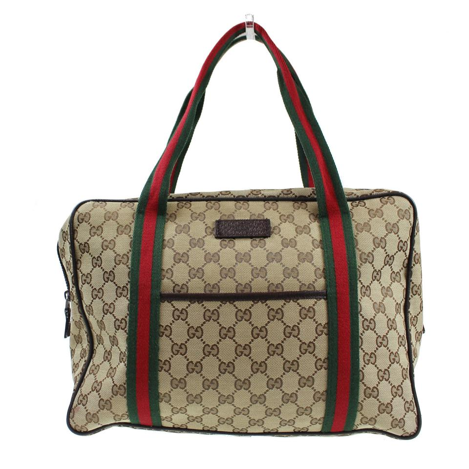 7d98ce16f88 Gucci Webby Monogram Web Carry On Tote 6310 Brown Canvas Weekend Travel Bag