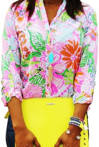 Lilly Pulitzer for Target Pink White Green Yellow Tropical Shirt  Button-down Top Size 6 (S) 32% off retail