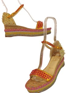Christian Louboutin Studded Jute Espadrille Spikes Woven Pink/Orange/Gold/Yellow/Multi-Color Wedges