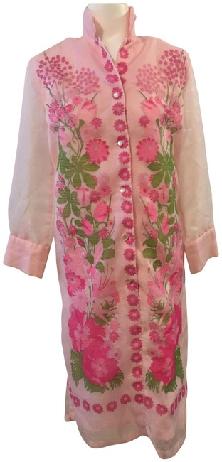 Item - Pink and Green Vintage 1970's Hawaiian Long Casual Maxi Dress Size 8 (M)