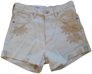 H&M Whiteshorts Floral Embroidered Highwaisted Cuffed Shorts White