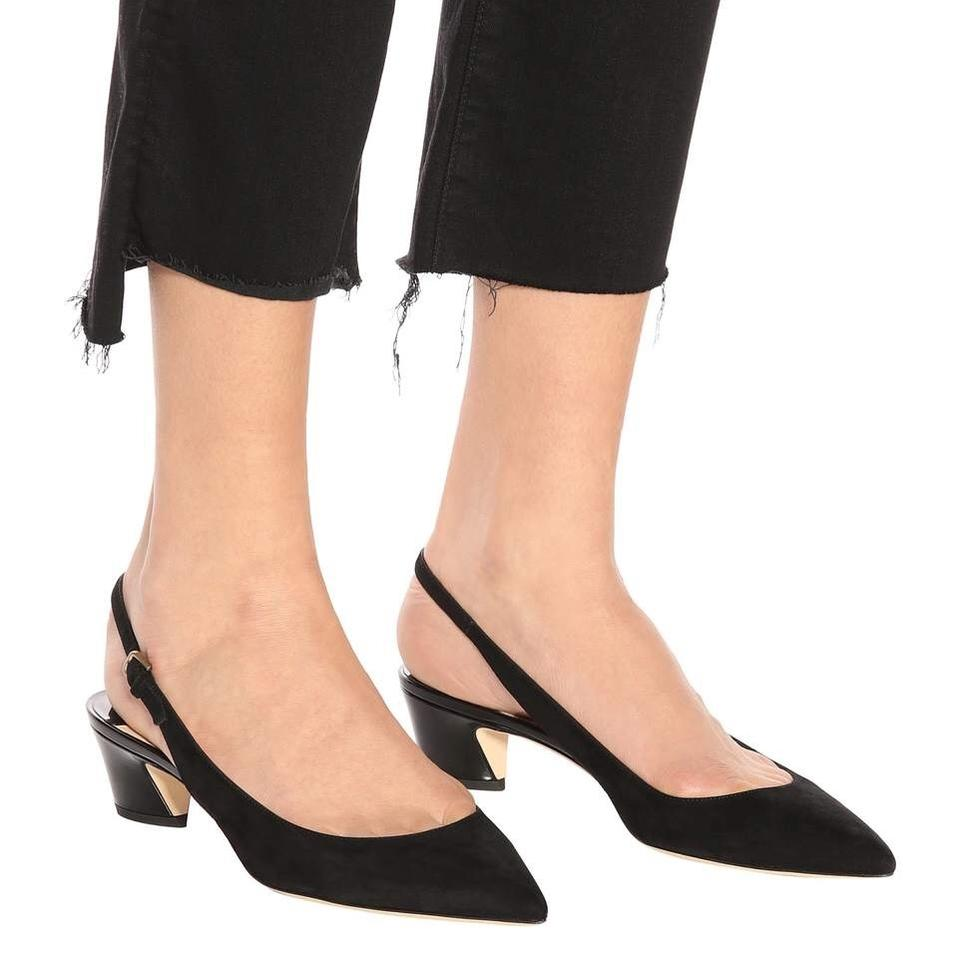 50a2f5c7d Jimmy Choo Black Gemma Pointy Toe 40mm Suede / Patent Leather ...