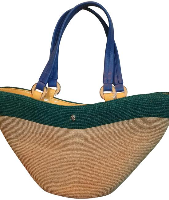 Item - Large with Handles and Metallic Details Natural Yellow Multiple Wicker Leather Tote