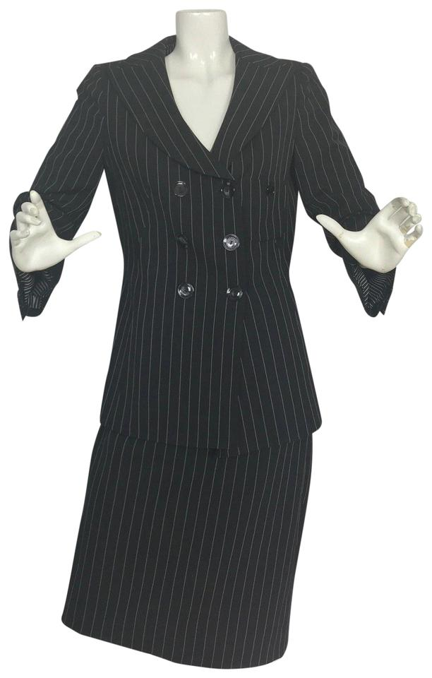 Armani Collezioni Black Pinstripes Wool Career Women Skirt Suit Size