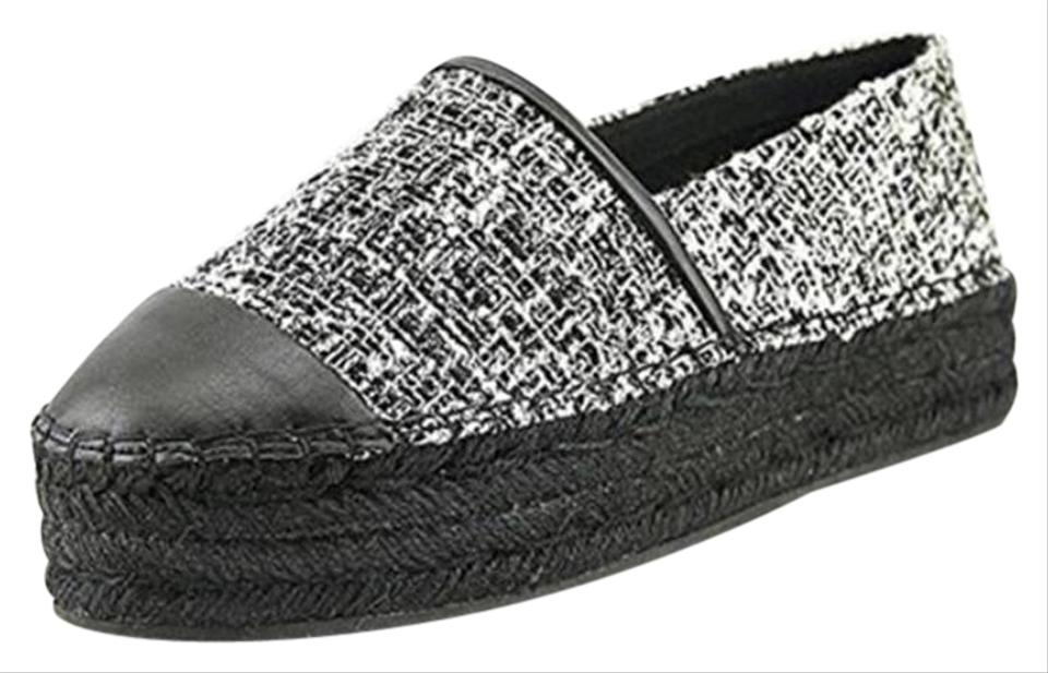 Karl Paris Lagerfeld Black & White Paris Karl Tweed Round Toe Espadrilles Mules/Slides 8913b2