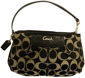 Coach Ashley Signature Iconic Large Wristlet in Black/White/Silver